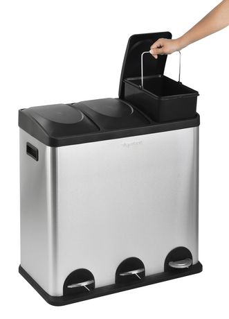 The Point Gallery Step N' Sort 60 Litre 3-Compartment Trash and Recycling Bin - image 3 of 9