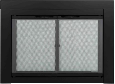 Pleasant Hearth Alpine Fireplace Glass Doors Black Small Walmart