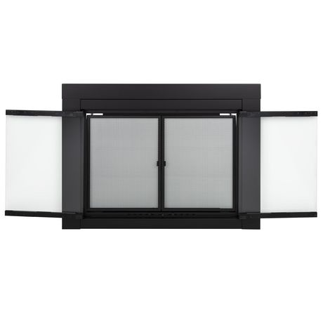 Pleasant Hearth Alpine Fireplace Glass Doors Black Small Walmart