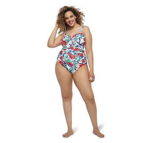 George Plus Women's AOP Wire Plunge 1-Piece Swimsuit - image 1 of 6