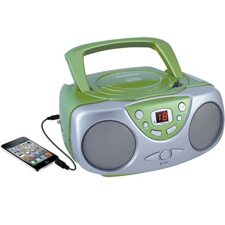 Blue and silver portable Sylvania CD Player with AM/FM radio and smartphone plugged into it