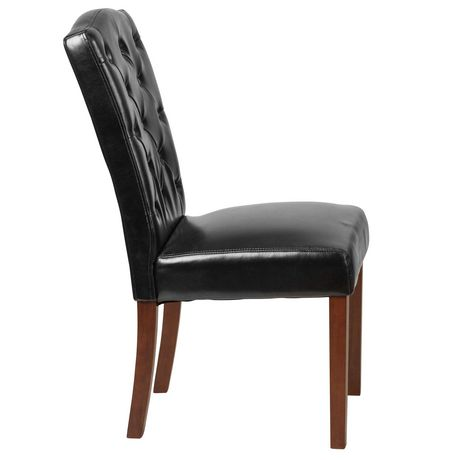 HERCULES Grove Park Series Black Leather Tufted Parsons Chair - image 5 of 6