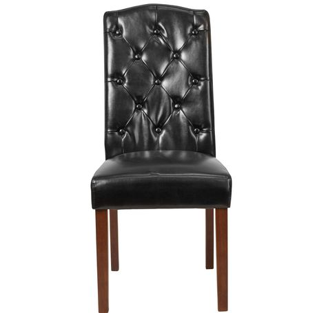 HERCULES Grove Park Series Black Leather Tufted Parsons Chair - image 6 of 6