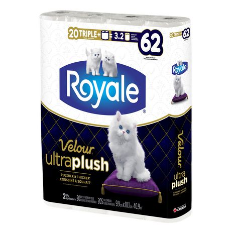 Royale Velour Ultra Plush Toilet Paper, 20 Triple plus equal 62 rolls - image 2 of 9