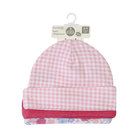 George baby Girls' Cotton Caps, 3-Pack - image 1 of 2