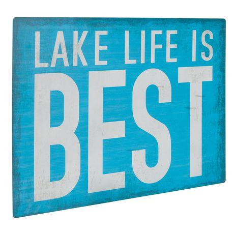 Panneau métallique sentiment Canadiana à imprimé « Lake Life Is Best » - image 2 de 4
