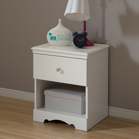 South Shore Crystal 1-Drawer Nightstand, White - image 1 of 7