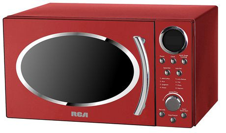 Rca Rmw987 Red 0 9 Cu Ft Retro Microwave Red Walmart