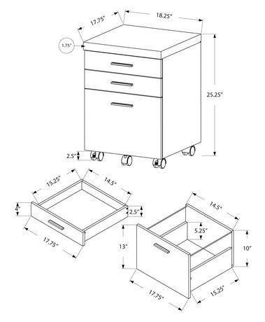 Monarch Specialties Classeur avec 3 tiroirs sur rouelettes - taupe foncé - image 2 de 2