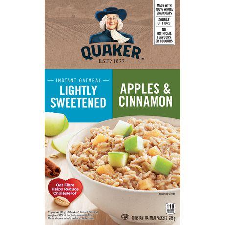Quaker Lighlty Sweetened Apples & Cinnamon Instant Oatmeal - image 1 of 7