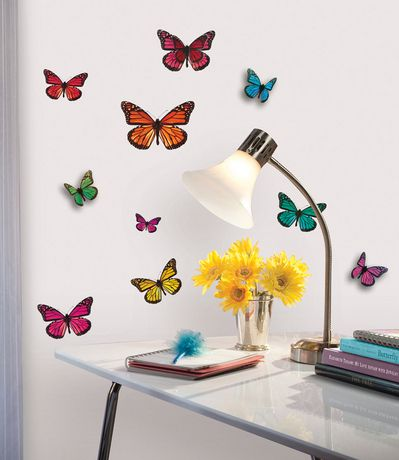 butterfly 3 d wall decals. Black Bedroom Furniture Sets. Home Design Ideas