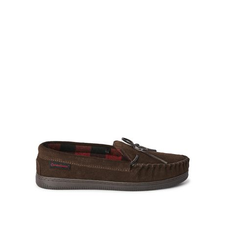 Brown Canadiana men's joey suede slippers with plaid insole