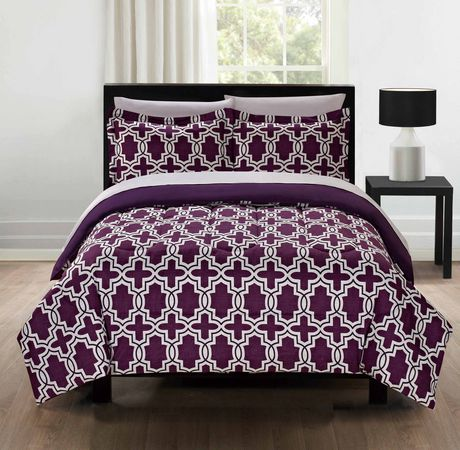 parure de lit violet g o de mainstays en microfibre. Black Bedroom Furniture Sets. Home Design Ideas