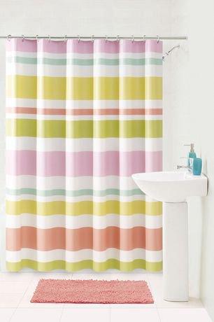 pastel stripe shower curtain | walmart canada