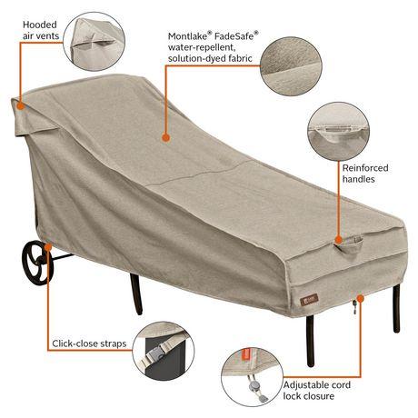 Housse de chaise longue de patio Montlake FadeSafe de Classic Accessories - Housse robuste pour meuble d'extérieur avec revers imperméable - image 3 de 9