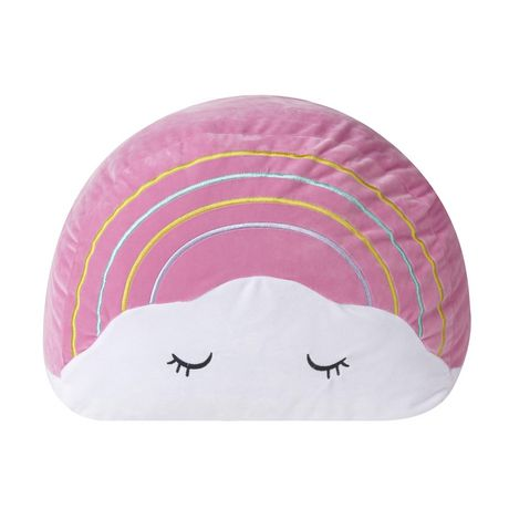 Pink and white half-circle shaped pillow with sleeping eyes design on the front