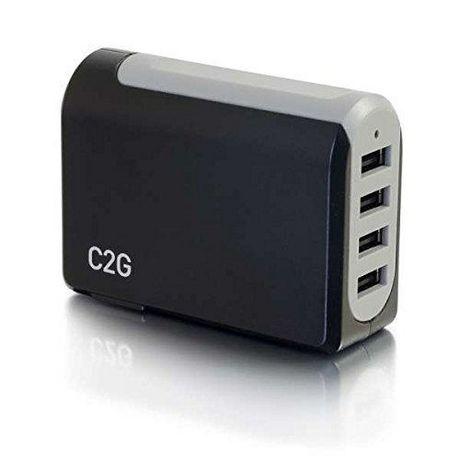 C2G 20277 Chargeur mural USB 4 ports - Adaptateur CA / USB, sortie 5V 4.8A - image 1 de 6