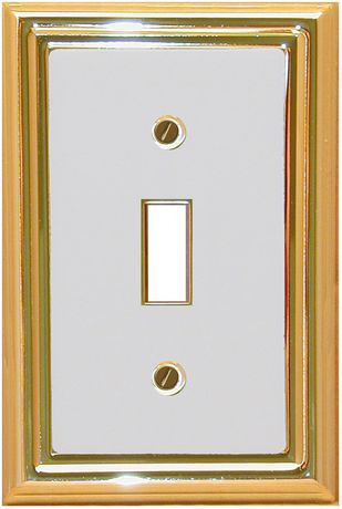 Atron Electro Industries Estate White on Brass Toggle Wall Plate - image 1 of 1