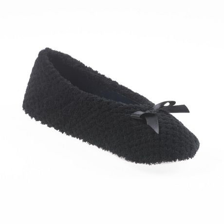 Best gifts for mom - ISOspa Women's Poppy Textured Microterry Ballerina Slippers - For the mom who likes to be cozy
