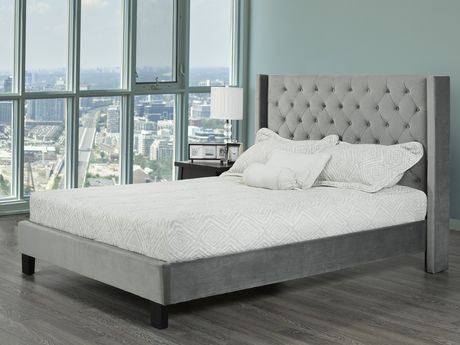Stupendous Brassex Inc Jia Tufted Platform Bed Queen Size Grey Caraccident5 Cool Chair Designs And Ideas Caraccident5Info
