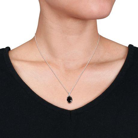 Pendentif Asteria avec saphir noir, saphirs blancs synthétiques 4 CT PBT et accents de diamants en argent sterling, 18 po - image 3 de 3