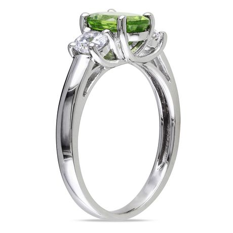 Tangelo 1-7/8 Carat T.G.W. Oval-Cut Peridot and Created White Sapphire Sterling Silver Three-Stone Ring - image 2 of 5