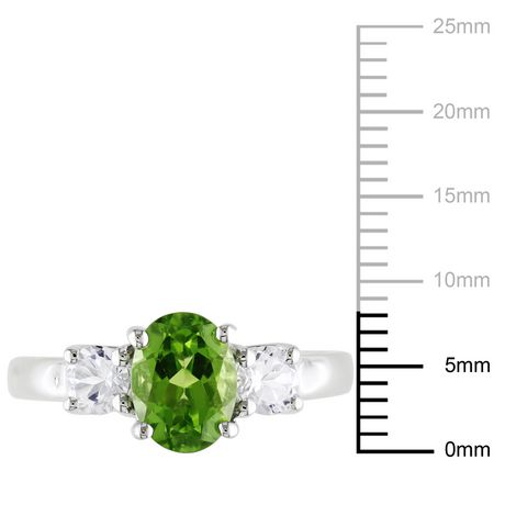 Tangelo 1-7/8 Carat T.G.W. Oval-Cut Peridot and Created White Sapphire Sterling Silver Three-Stone Ring - image 3 of 5