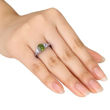 Tangelo 1-7/8 Carat T.G.W. Oval-Cut Peridot and Created White Sapphire Sterling Silver Three-Stone Ring - image 4 of 5