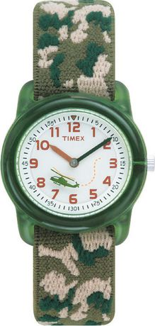 Analog wristwatch from Timex with green face and camouflage strap
