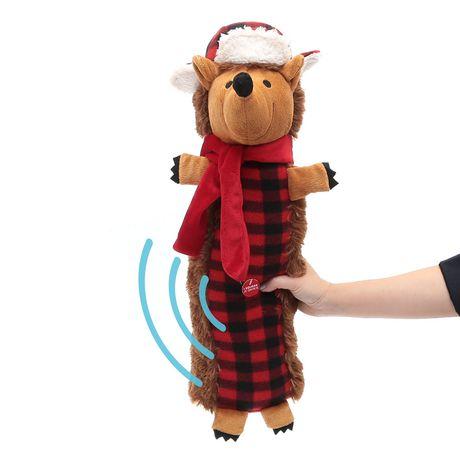 Location vacances temps, jouet gros chien peluche qui couine-Buffalo Plaid hérisson - image 4 de 4