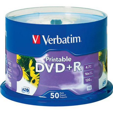 graphic relating to Verbatim Printable Dvd R called Verbatim DVD+R 4.7GB 16X White Inkjet Printable with Branded