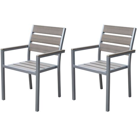 Corliving pjr 571 c gallant sun bleached grey outdoor dining chairs - Sun chairs walmart ...