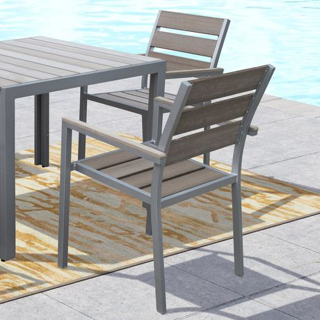 CorLiving PJR 571 C Gallant Sun Bleached Grey Outdoor Dining Chairs