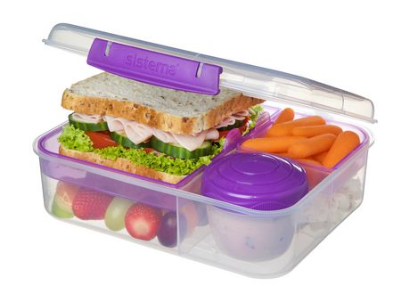 Sistema To Go Collection Bento Box and Food Storage Container, 6.9 Cup, Clear, Assorted Color Klips - image 1 of 7