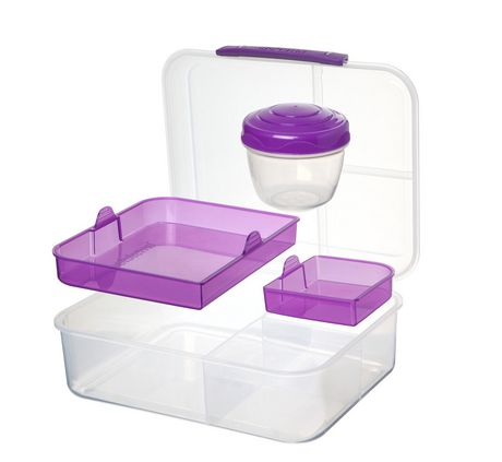 Sistema To Go Collection Bento Box and Food Storage Container, 6.9 Cup, Clear, Assorted Color Klips - image 2 of 7