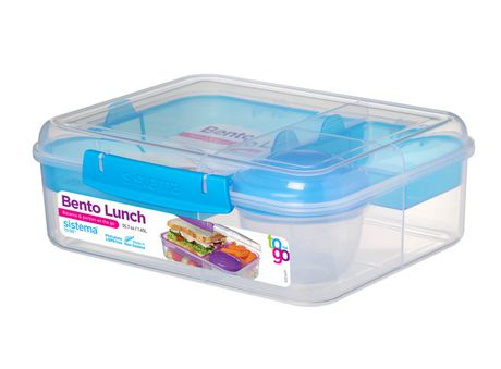 Sistema To Go Collection Bento Box and Food Storage Container, 6.9 Cup, Clear, Assorted Color Klips - image 3 of 7