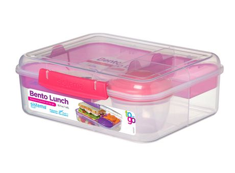 Sistema To Go Collection Bento Box and Food Storage Container, 6.9 Cup, Clear, Assorted Color Klips - image 4 of 7