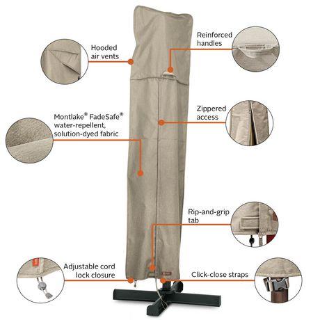 Housse de parasol de patio Montlake FadeSafe de Classic Accessories - Housse robuste pour meuble d'extérieur avec revers imperméable, Petite - image 3 de 9