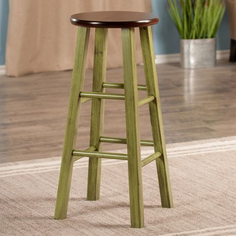 tabouret de bar de 29 po ivy vert rustique avec si ge noyer walmart canada. Black Bedroom Furniture Sets. Home Design Ideas