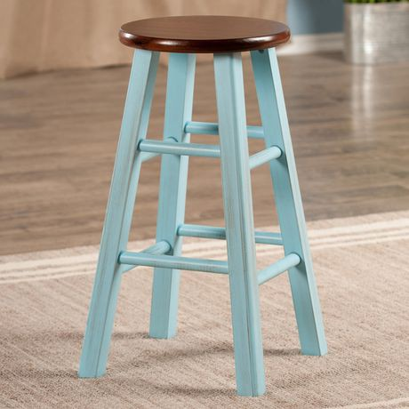 Ivy 24 Quot Counter Stool Rustic Light Blue W Walnut Seat