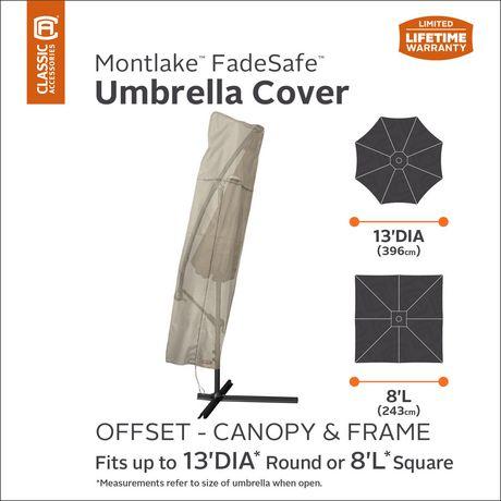 Housse de parasol de patio Montlake FadeSafe de Classic Accessories - Housse robuste pour meuble d'extérieur avec revers imperméable, Petite - image 2 de 9