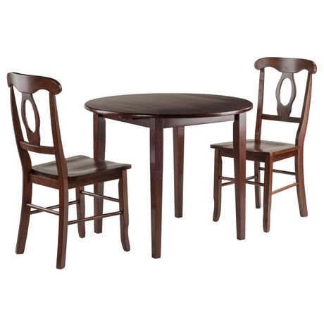 Clayton 3 Pc Set Drop Leaf Table With 2 Keyhole Back Chairs