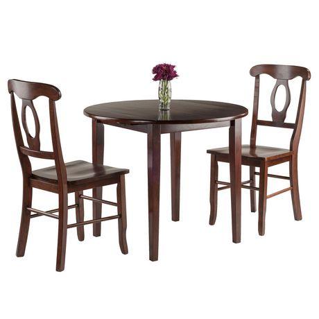 Table abattants clayton 3 pi ces avec 2 chaises for Chaise a trou