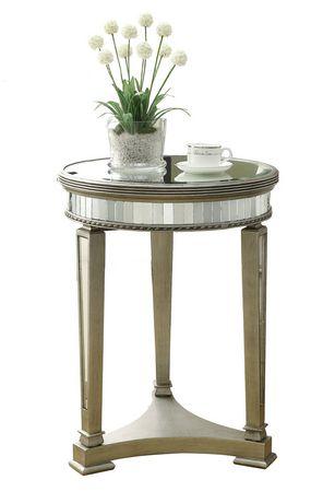 table d 39 appoint monarch specialties en miroir et argent bross. Black Bedroom Furniture Sets. Home Design Ideas