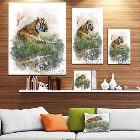 impression sur toile relaxing tiger design art walmart canada. Black Bedroom Furniture Sets. Home Design Ideas
