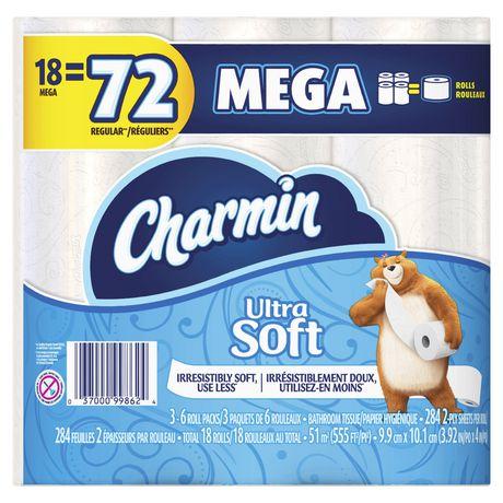 Charmin Ultra Soft Toilet Paper 18 Mega Roll Walmart Canada