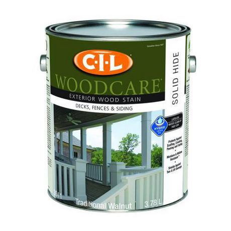 CIL WOODCARE Exterior Wood Stain Solid Traditional Walnut At