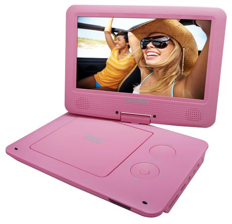 sylvania 9 portable dvd player with swivel screen pink. Black Bedroom Furniture Sets. Home Design Ideas