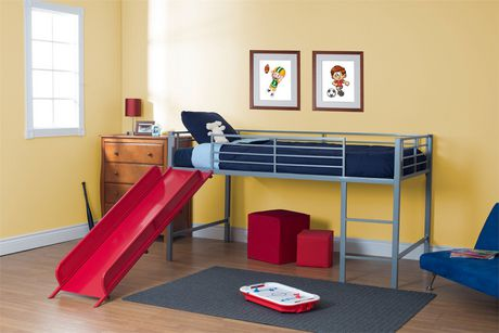 dhp lit mezzanine jumeau avec toboggan pour enfants argent. Black Bedroom Furniture Sets. Home Design Ideas