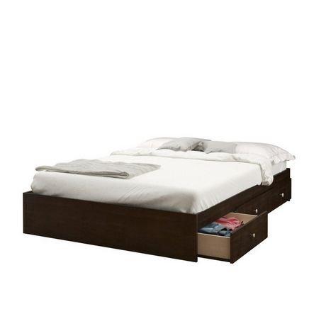 lit double pocono de nexera rangement int gr avec t te. Black Bedroom Furniture Sets. Home Design Ideas
